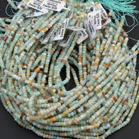 "Natural Amazonite 4mm Faceted Rondelle Beads High Quality Faceted 4x2mm Small Tiny Multi Color Amazonite Blue Green Yellow Red 16"" Strand"