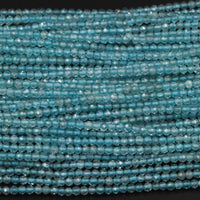 "Micro Faceted AAA Tiny Small Natural Apatite Faceted Round Beads 2mm Faceted Round Beads Translucent Aqua Blue Gemstone 16"" Strand"