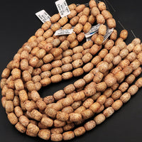 "Natural Tibetan Sand Agate Beads Brown Yellow Drum Tube Cylinder Barrel Antique Look Earthy Ethnical Look 16"" Strand"