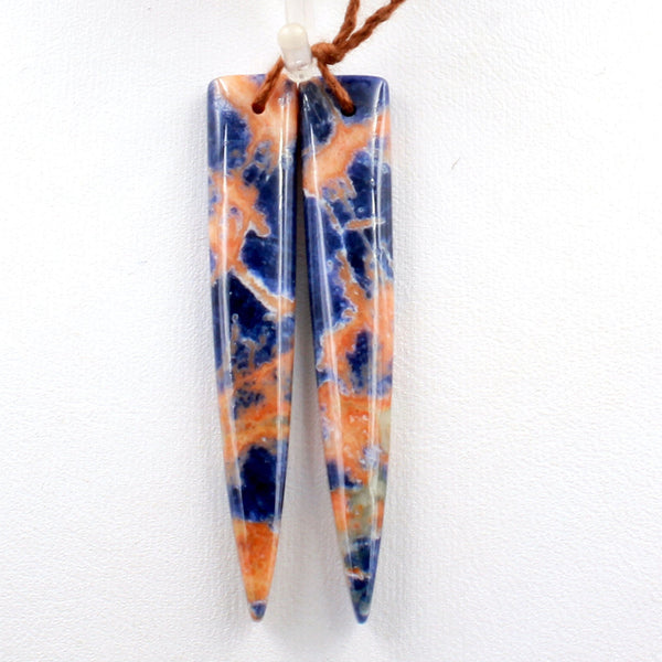 Natural Orange Sodalite Earring Pair Dagger Long Triangle Cabochon Cab Drilled Matched Gemstone Bead Pair