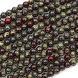 "Large Hole Beads Natural Dragon Blood Jasper 8mm Round Beads 10mm Round Beads Big 2.5mm Hole 8"" Strand"