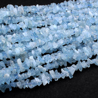 "Rough Raw Natural Aquamarine Beads Freeform Nuggets Hand Hammered Chiseled Blue Aquamarine Gemstone Organic Cut Blue Beryl 16"" Strand"