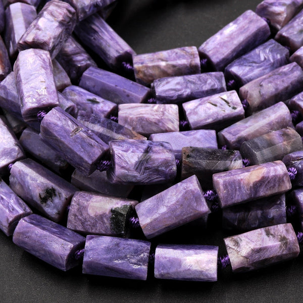 "Natural Charoite Beads Faceted Tube Nuggets Matte Raw Organic Hand Cut Purple Russian Charoite Rectangle Cylinder Gemstone 16"" Strand"