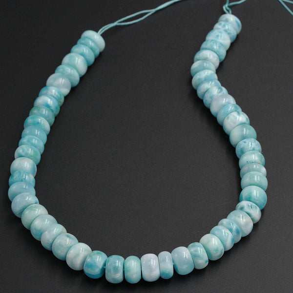 "Huge Large Blue Larimar Rondelle Beads AAA Grade 14mm Smooth Thick Saucer Wheel Bead Real Genuine Natural Larimar Gemstone 16"" Strand"