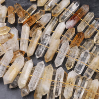"Natural Citrine Beads Faceted Double Terminated Pointed Tips Large Center Drilled Healing Natural Quartz Crystal Focal Pendant 16"" Strand"