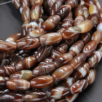 "Natural Tibetan Agate Barrel Drum Tube Beads Highly Polished Smooth Dark Brown White Agate  Amazing Veins Bands Strikes 16"" Strand"