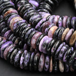"Large Chunky Natural Charorite Rounded Disc Beads Purple Russian Charoite 16mm 18mm FreeForm Center Drilled Button Rondelle beads 16"" Strand"