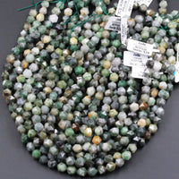 "Natural African Green Jade Faceted 8mm 10mm 12mm Beads Star Cut Modern Geometric Cut Earthy Green Jade Organic Raw Designer Beads 16"" Strand"