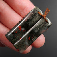 Drilled Earring Pair Stone Natural African Bloodstone Pyrite Matched Cabochon Pair Cab Pair Symmetrical Rectangle Shaped Earring Beads E3094
