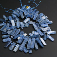 "Side Drilled Raw Natural Blue Kyanite Long Rectangle Bead Focal Pendant Quality Freeform Irregular Long Gemstone Beads Rough Cut 16"" Strand"