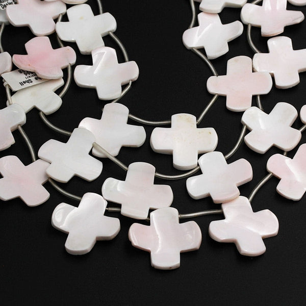 "Natural Conch Shell Beads Top Side Drilled Cross Shaped Natural Soft Pink Unique Large Cross Pendant Focal Shell Beads 16"" Strand"