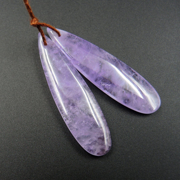 Natural Violet Amethyst Earring Pair Teardrop Cabochon Cab Pair Drilled Matched Earrings Bead Pair Stone E1452