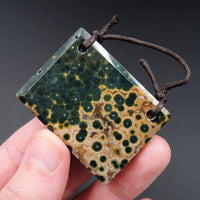 Natural Ocean Jasper Pendant Green Yellow Orbs Drilled Faceted Rectangle Pendant Two Hole Pendant P394