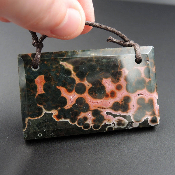Natural Ocean Jasper Pendant Pink Green White Orbs Drilled Faceted Rectangle Pendant 2 Hole Pendant P400