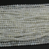 "Natural Creamy White Moonstone 3mm Faceted Round Beads Micro Faceted Laser Cut Diamond Cut Gemstone White Stone Spacer Beads 16"" Strand"