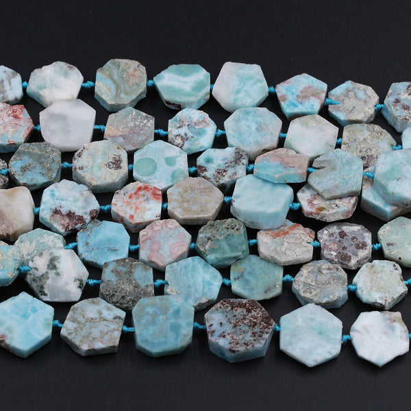 "Matte Raw Natural Larimar Octagon Hexagon Beads Geometric Cut Large Real Genuine Blue Larimar Gemstone Flat Slice 16mm 18mm 20mm 16"" Strand"