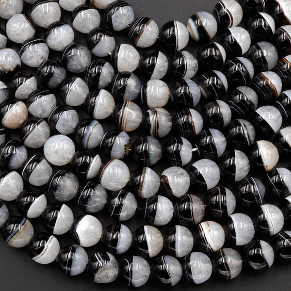 "Large Natural Tuxedo Agate Round Beads 12mm 14mm 16mm Smooth Polished High Quality Gemmy Black White Stripes  Beads 16"" Strand"