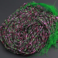 "AAA Grade Micro Faceted Small Natural Ruby Zoisite 4mm 5mm Faceted Round Beads Laser Diamond Cut Red Ruby Gemstone 16"" Strand"