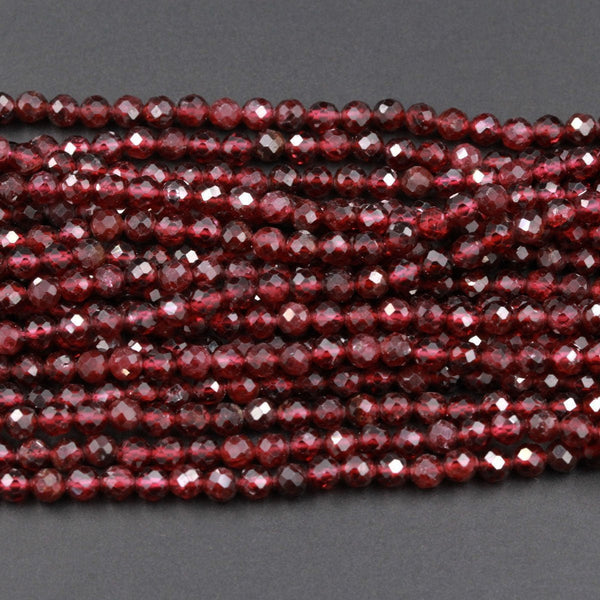 "AAA Natural Red Garnet Gemstone Beads Micro Faceted 3mm 3.5mm 4mm Round High Quality Laser Diamond Cut Gemstone 16"" Strand"