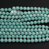 "Natural Brazilian Amazonite 6mm 8mm Round Beads High Quality Solid Pastel Sea Blue Green Gemstone Beads 16"" Strand"