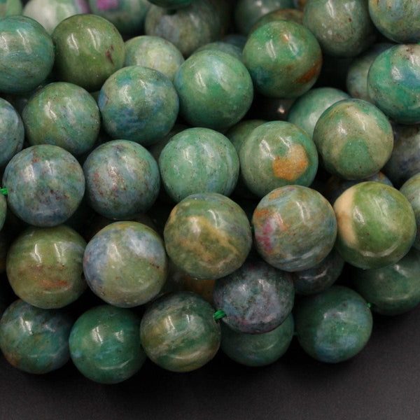 "Natural Ruby Fuchsite Ruby Fuschite Beads Round 6mm 9mm 11mm 12mm 13mm Round Beads Red Ruby in Green Blue Fuchsite Gemstone 16"" Strand"
