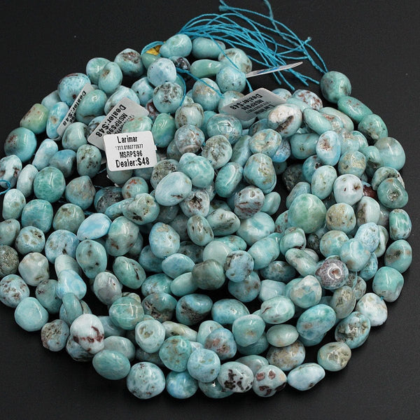 "Natural Blue Larimar Beads Rounded Pebble Oval Nuggets Gorgeous Blue Gemstone From Dominican Republic 16"" Strand"