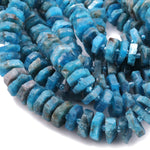 "Rough Raw Natural Apatite Beads Center Drilled Heishi Disc Rondelle Hand Hammered Natural Teal Blue Gemstone  16"" Strand"