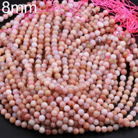 "Natural Peruvian Pink Opal 8mm 10mm Round Beads Smooth Plain Round Beads Pink Gemstone 16"" Strand"