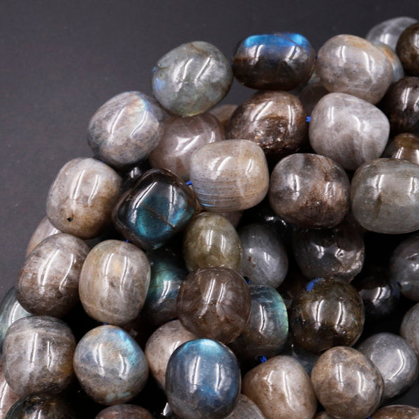 "Large Natural Labradorite Nuggets Freeform Irregular Rounded Oval Barrel Beads Nice Blue Green Flashes High Quality Labradorite 16"" Strand"