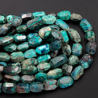"Large Faceted Natural Chrysocolla Beads Rectangle Nugget Freeform Vibrant Blue Green Chrysocolla Beads From Arizona 16"" Strand"