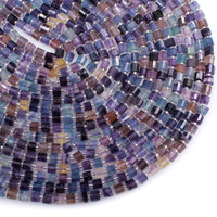 "AAA Super Clear Natural Fluorite Faceted Tube Cylinder Rondelle Beads Sharp Facets Laser Diamond Cut Purple Green Blue Gemstone 16"" Strand"