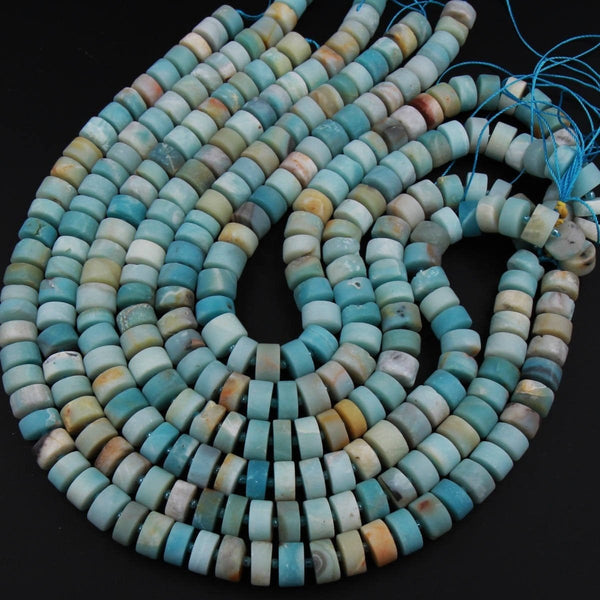 "Natural Multi Color Amazonite Matte Rondelle Disc Wheel Heishi Nugget Beads Center Drilled Coin Large 16"" Strand"