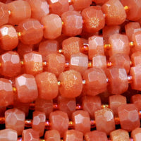 "AAA Natural Sunstone Faceted Rondelle Beads 6mm 7mm 8mm 9mm 10mm Faceted Rondelle Nugget Beads 16"" Strand"