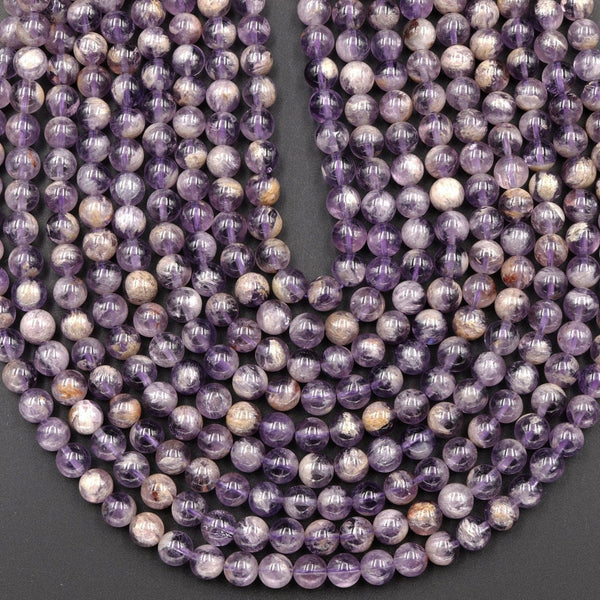 "Natural Phantom Amethyst Round Beads 7mm 8mm Powerful Healing Stone Rock Phamton Lodalite Matrix Beads 16"" Strand"