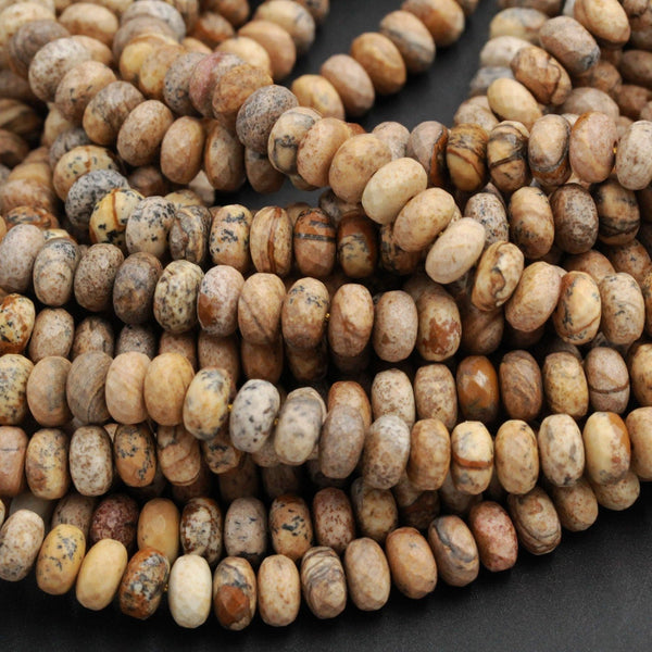 "Matte Finish Natural Picture Jasper 8mm 10mm Rondelle Matte Faceted Beads Desert Jasper Rondelle Earthy Yellow Brown Jasper 16"" Strand"