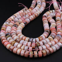 "Natural Peruvian Pink Opal Rondelle Disc Wheel Heishi Nugget Beads Center Drilled Coin Large 16"" Strand"