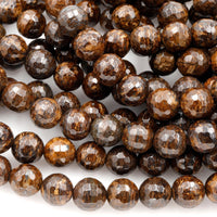"Natural Bronzite Beads Faceted 4mm 6mm 8mm Round High Quality AA Grade 16"" Strand"