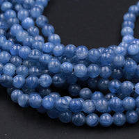 "AAA Natural Blue Kyanite 4mm 5mm 6mm 8mm 9mm Round Beads Real Genuine Kyanite Gemstone Plain Smooth Round Beads 16"" Strand"