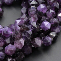 "Star Cut Natural Dark Purple Amethyst Beads Faceted Nugget Geometric Cut Rounded 8mm 10mm Beads Diamond Cut Sparkling Gemstone 16"" Strand"