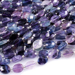 "AAA Super Clear Natural Fluorite Faceted Oval Beads Sharp Facets Laser Diamond Cut Purple Green Blue Gemstone Beads 16"" Strand"
