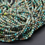 "Natural Turquoise 3mm Faceted Round Beads Real Genuine Natural Blue Brown Green Turquoise Micro Faceted Laser Diamond Cut 16"" Strand"