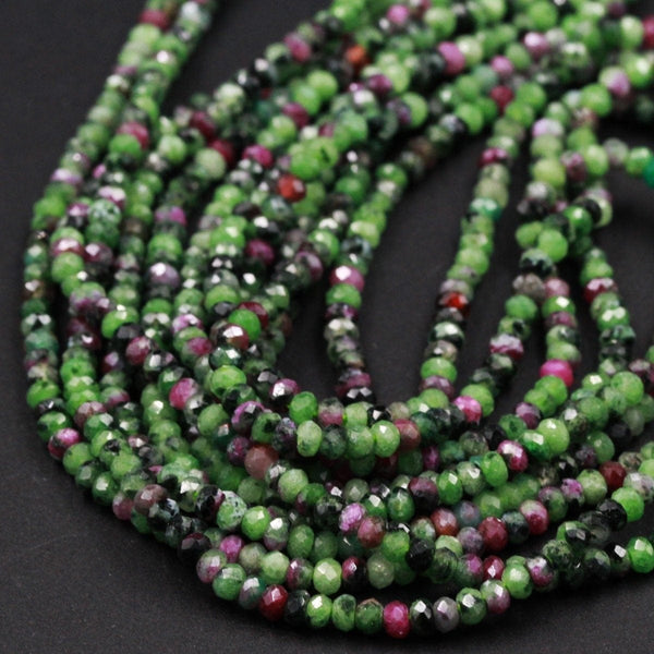 "Micro Faceted Tiny Small Natural Ruby Zoisite 3mm Faceted Rondelle Beads Laser Diamond Cut Gemstone 16"" Strand"