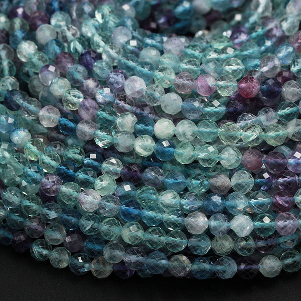"AAA Grade Gemmy Natural Rainbow Fluorite Faceted 2mm 3mm 4mm 6mm Round Beads Micro Faceted Teal Blue Purple Green Gemstone Bead 16"" Strand"