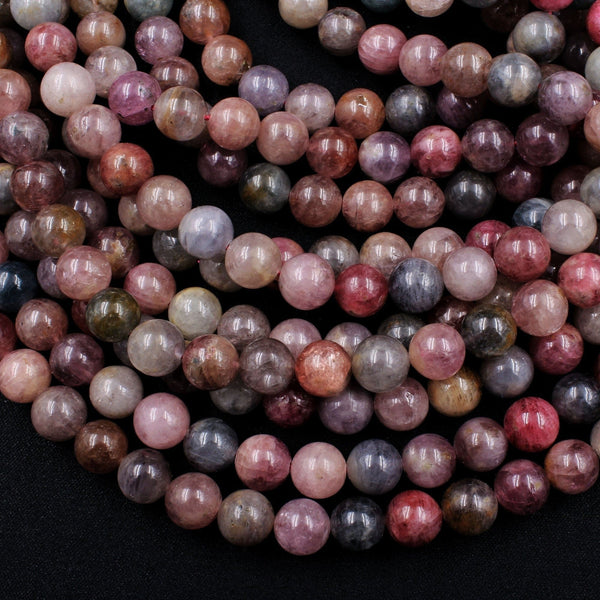 "Real Genuine Natural Spinel 8mm 9mm 10mm Round Beads Natural Multicolor Pastel Pink Blue Golden Peach Yellow Teal Purple Gemstone 16"" Strand"
