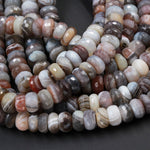 "Large Chunky Natural Botswana Agate 6mm 8mm 9mm 10mm 12mm Faceted Rondelle Wheel Beads Micro Diamond Facet Sparkling Gemstone 16"" Strand"