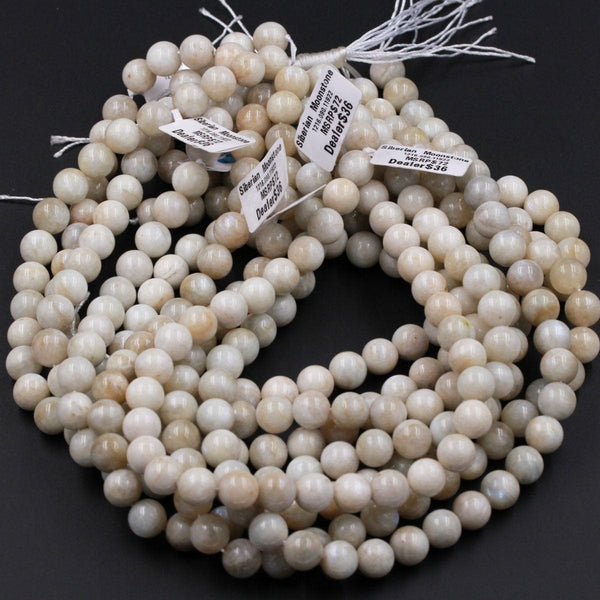"Rare! Natural Siberian Moonstone 6mm 8mm 10mm Round Beads Blue Flashes Exclusively From Us 16"" Strand"