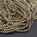 "Titanium Pyrite Faceted 2mm Round beads 3mm Round Tiny Small Micro Faceted Round Diamond Micro Cut Sparkling Natural Gemstone 16"" Strand"