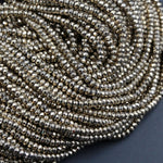 "Titanium Pyrite Faceted 3mm x 2mm Rondelle beads Tiny Small Micro Faceted Rondelle Diamond Micro Cut Sparkling Natural Gemstone 16"" Strand"