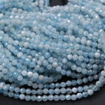 "Micro Faceted Natural Aquamarine 2mm 3mm 4mm Faceted Round Beads Laser Diamond Cut Real Genuine Blue Aquamarine Gemstone 16"" Strand"