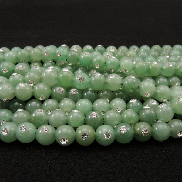 "Natural Green Aventurine 8mm Round Beads Set With Sparkling Rhinstone Inlay 16"" Strand"